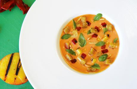 Grilled Peach Gazpacho